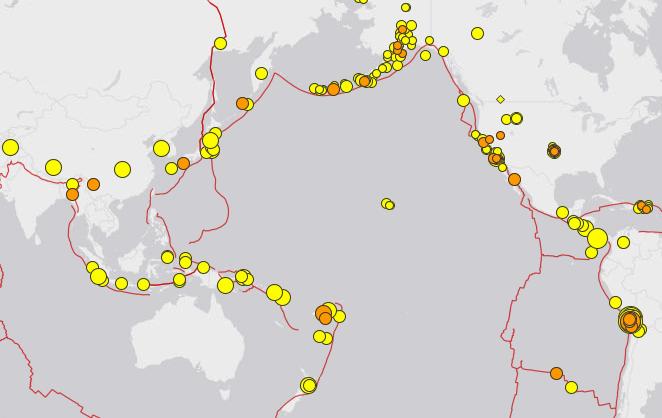 Die Erdbeben der letzten sieben Tage, wobei nur Stärken von mehr als 2,5 der Richter-Skala beachtet wurden.