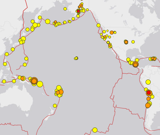 die aktuelle Übersicht über die Erdbeben am Pazifik