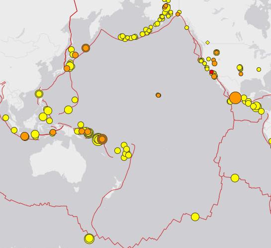 Immer wieder neue heftige Erdbeben rund um die Pazifische Platte