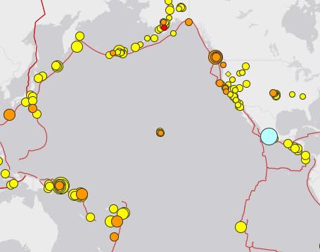 Diese Karte zeigt die Erdbeben rund um die Pazifik-Region.
